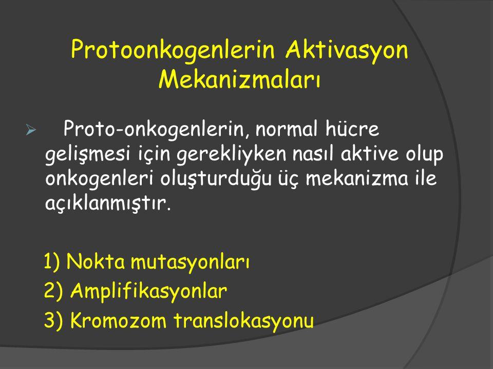 Protoonkogenlerin Aktivasyon Mekanizmaları  Proto-onkogenlerin, normal hücre gelişmesi için gerekliyken nasıl aktive olup onkogenleri oluşturduğu üç