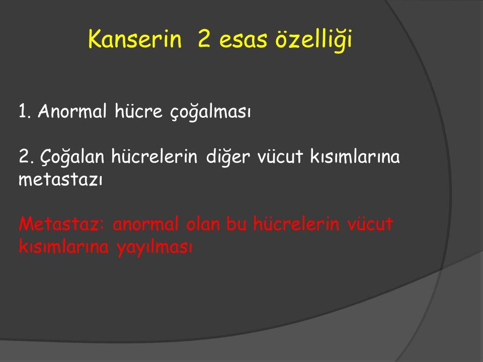 1. Anormal hücre çoğalması 2. Çoğalan hücrelerin diğer vücut kısımlarına metastazı Metastaz: anormal olan bu hücrelerin vücut kısımlarına yayılması Ka