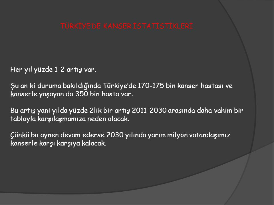 Her yıl yüzde 1-2 artış var. Şu an ki duruma bakıldığında Türkiye'de 170-175 bin kanser hastası ve kanserle yaşayan da 350 bin hasta var. Bu artış yan