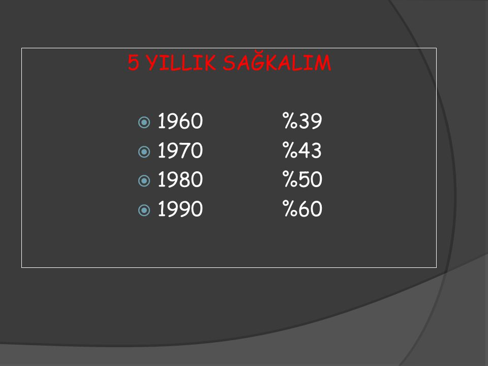 5 YILLIK SAĞKALIM  1960%39  1970%43  1980%50  1990%60
