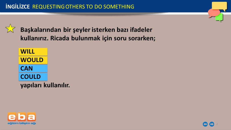 3 İNGİLİZCE REQUESTING OTHERS TO DO SOMETHING Her ikisi de bir şey yapılmasını rica ederken kullanılan yapılardır.