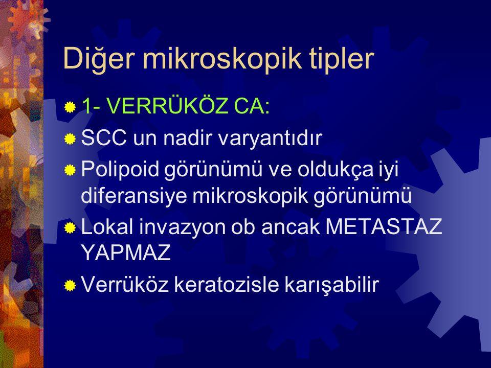 Diğer mikroskopik tipler  1- VERRÜKÖZ CA:  SCC un nadir varyantıdır  Polipoid görünümü ve oldukça iyi diferansiye mikroskopik görünümü  Lokal invazyon ob ancak METASTAZ YAPMAZ  Verrüköz keratozisle karışabilir
