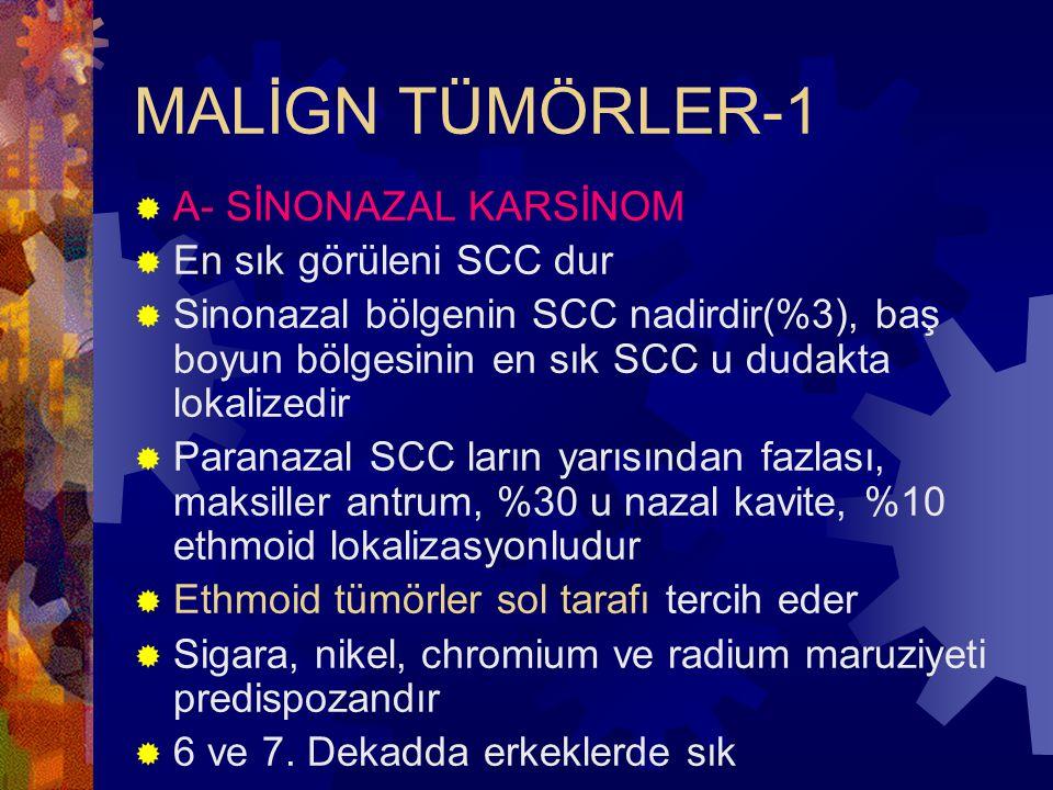 MALİGN TÜMÖRLER-1  A- SİNONAZAL KARSİNOM  En sık görüleni SCC dur  Sinonazal bölgenin SCC nadirdir(%3), baş boyun bölgesinin en sık SCC u dudakta lokalizedir  Paranazal SCC ların yarısından fazlası, maksiller antrum, %30 u nazal kavite, %10 ethmoid lokalizasyonludur  Ethmoid tümörler sol tarafı tercih eder  Sigara, nikel, chromium ve radium maruziyeti predispozandır  6 ve 7.