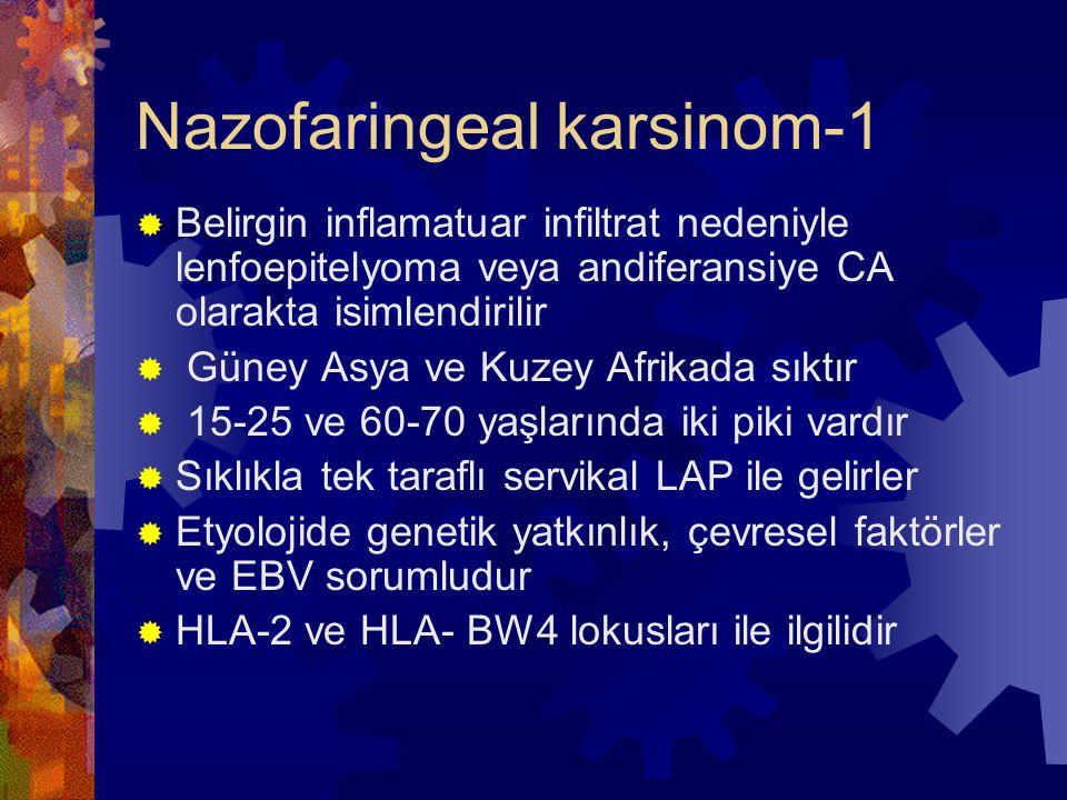 Nazofaringeal karsinom-1  Belirgin inflamatuar infiltrat nedeniyle lenfoepitelyoma veya andiferansiye CA olarakta isimlendirilir  Güney Asya ve Kuzey Afrikada sıktır  15-25 ve 60-70 yaşlarında iki piki vardır  Sıklıkla tek taraflı servikal LAP ile gelirler  Etyolojide genetik yatkınlık, çevresel faktörler ve EBV sorumludur  HLA-2 ve HLA- BW4 lokusları ile ilgilidir