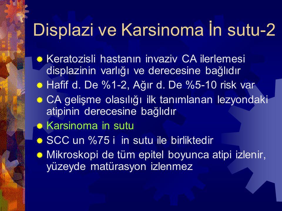 Displazi ve Karsinoma İn sutu-2  Keratozisli hastanın invaziv CA ilerlemesi displazinin varlığı ve derecesine bağlıdır  Hafif d.