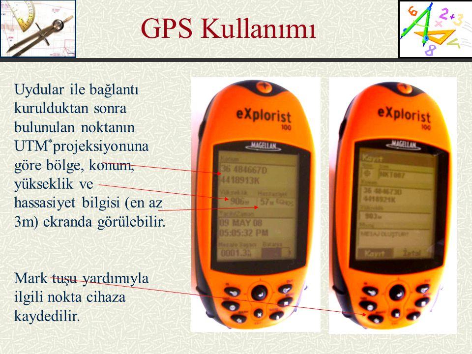 GPS Kullanımı Uydular ile bağlantı kurulduktan sonra bulunulan noktanın UTM * projeksiyonuna göre bölge, konum, yükseklik ve hassasiyet bilgisi (en az