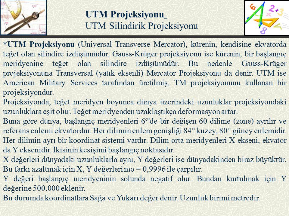 *UTM Projeksiyonu (Universal Transverse Mercator), kürenin, kendisine ekvatorda teğet olan silindire izdüşümüdür. Gauss-Krüger projeksiyonu ise küreni