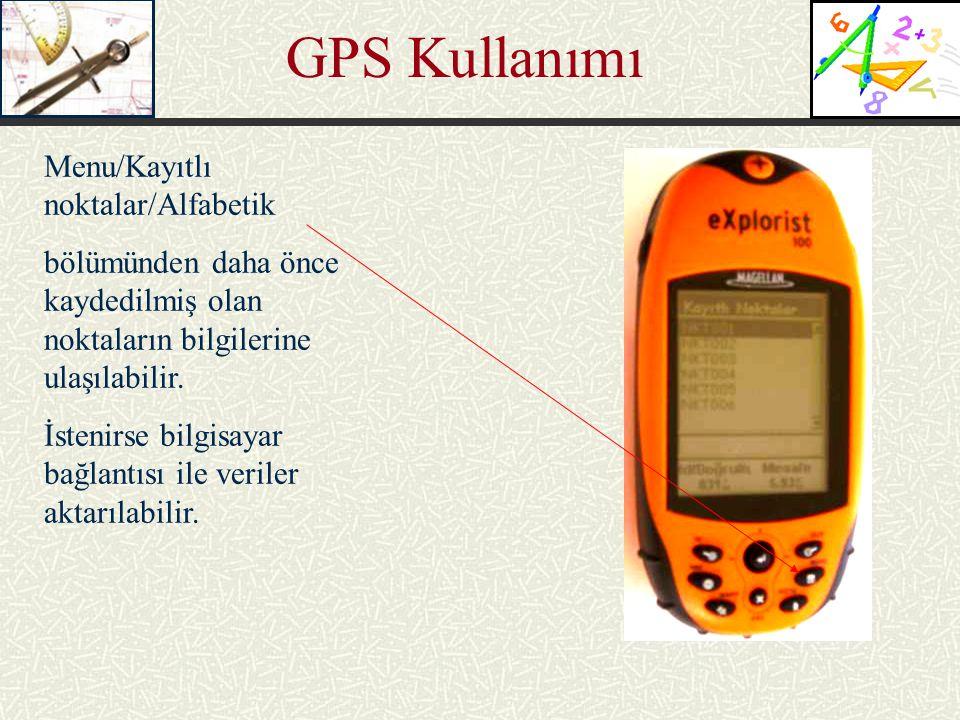 GPS Kullanımı Menu/Kayıtlı noktalar/Alfabetik bölümünden daha önce kaydedilmiş olan noktaların bilgilerine ulaşılabilir. İstenirse bilgisayar bağlantı