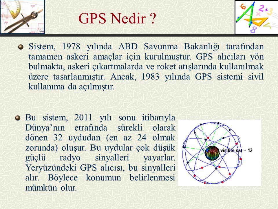 GPS Nedir ? Sistem, 1978 yılında ABD Savunma Bakanlığı tarafından tamamen askeri amaçlar için kurulmuştur. GPS alıcıları yön bulmakta, askeri çıkartma