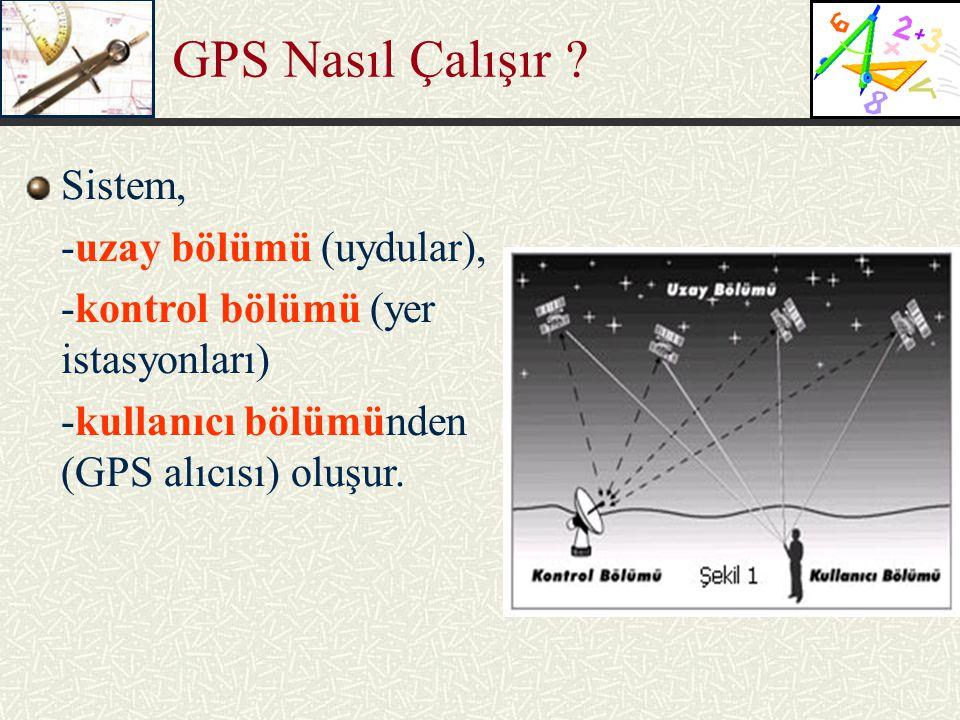 Sistem, -uzay bölümü (uydular), -kontrol bölümü (yer istasyonları) -kullanıcı bölümünden (GPS alıcısı) oluşur. GPS Nasıl Çalışır ?