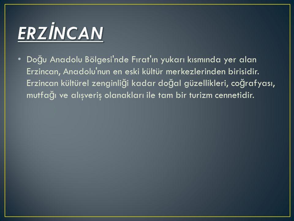 Do ğ u Anadolu Bölgesi'nde Fırat'ın yukarı kısmında yer alan Erzincan, Anadolu'nun en eski kültür merkezlerinden birisidir. Erzincan kültürel zenginli