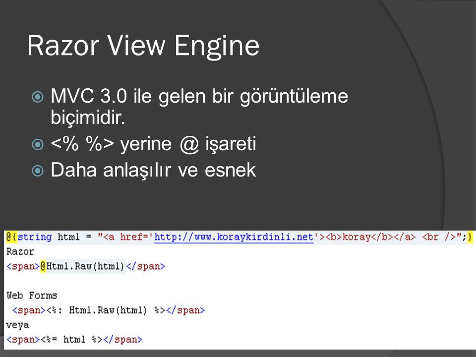 Razor View Engine  MVC 3.0 ile gelen bir görüntüleme biçimidir.  yerine @ işareti  Daha anlaşılır ve esnek