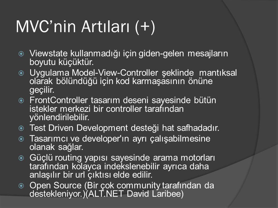 MVC'nin Artıları (+)  Viewstate kullanmadığı için giden-gelen mesajların boyutu küçüktür.  Uygulama Model-View-Controller şeklinde mantıksal olarak