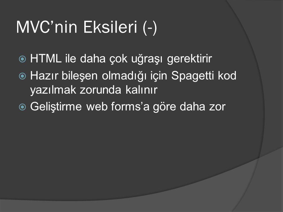 MVC'nin Eksileri (-)  HTML ile daha çok uğraşı gerektirir  Hazır bileşen olmadığı için Spagetti kod yazılmak zorunda kalınır  Geliştirme web forms'