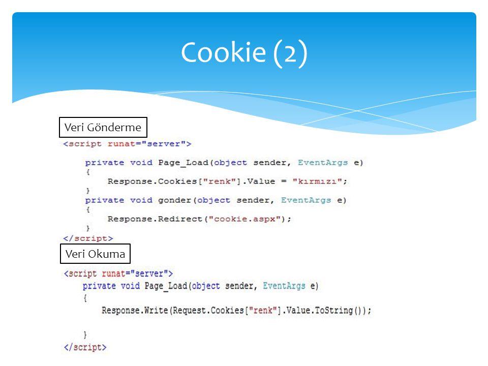 Cookie (2) Veri Gönderme Veri Okuma
