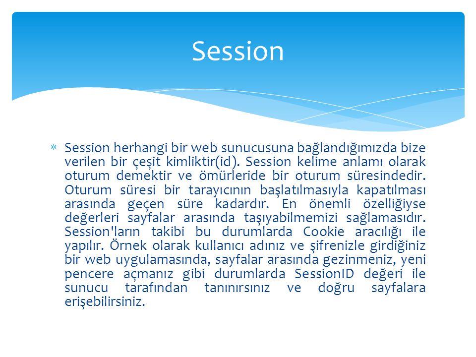  Session herhangi bir web sunucusuna bağlandığımızda bize verilen bir çeşit kimliktir(id). Session kelime anlamı olarak oturum demektir ve ömürleride