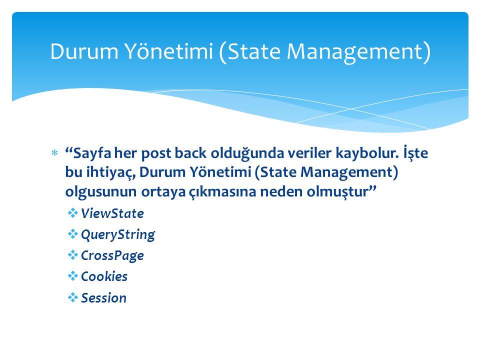 """ """"Sayfa her post back olduğunda veriler kaybolur. İşte bu ihtiyaç, Durum Yönetimi (State Management) olgusunun ortaya çıkmasına neden olmuştur""""  Vie"""