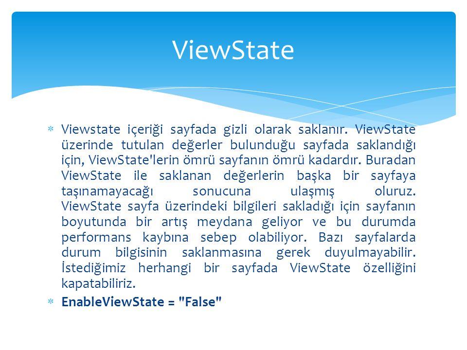  Viewstate içeriği sayfada gizli olarak saklanır. ViewState üzerinde tutulan değerler bulunduğu sayfada saklandığı için, ViewState'lerin ömrü sayfanı