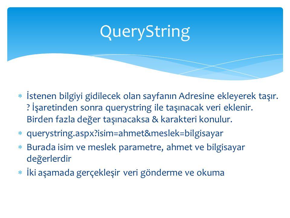  İstenen bilgiyi gidilecek olan sayfanın Adresine ekleyerek taşır. ? İşaretinden sonra querystring ile taşınacak veri eklenir. Birden fazla değer taş