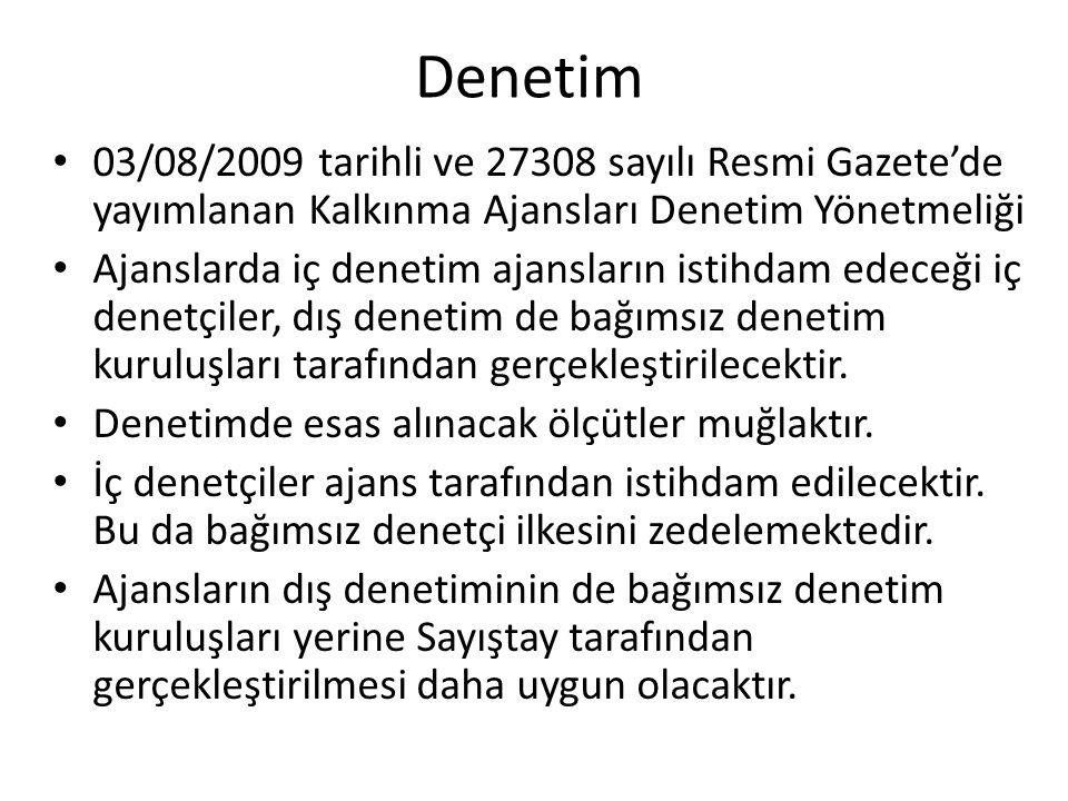 Denetim 03/08/2009 tarihli ve 27308 sayılı Resmi Gazete'de yayımlanan Kalkınma Ajansları Denetim Yönetmeliği Ajanslarda iç denetim ajansların istihdam