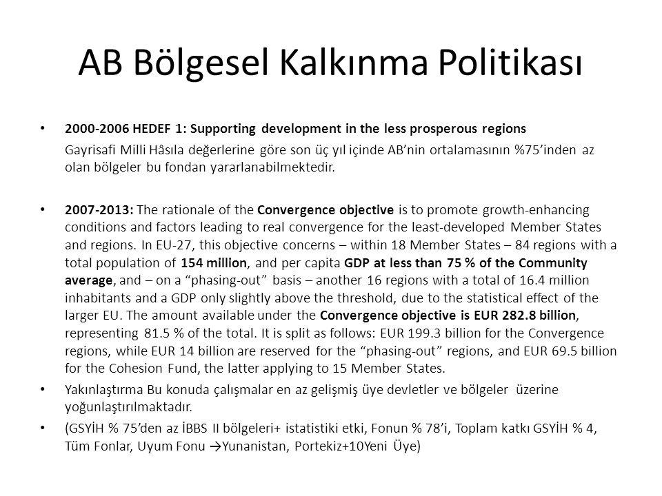 AB Bölgesel Kalkınma Politikası 2000-2006 HEDEF 1: Supporting development in the less prosperous regions Gayrisafi Milli Hâsıla değerlerine göre son ü