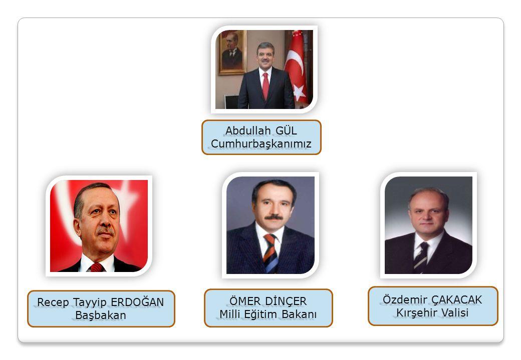 Recep Tayyip ERDOĞAN Başbakan ÖMER DİNÇER Milli Eğitim Bakanı Abdullah GÜL Cumhurbaşkanımız Özdemir ÇAKACAK Kırşehir Valisi