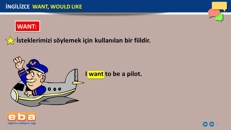 2 İsteklerimizi söylemek için kullanılan bir fiildir. İNGİLİZCE WANT, WOULD LIKE WANT: I want to be a pilot.