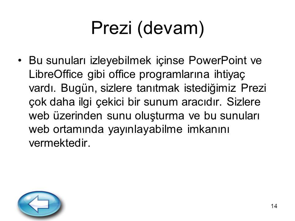 14 Prezi (devam) Bu sunuları izleyebilmek içinse PowerPoint ve LibreOffice gibi office programlarına ihtiyaç vardı. Bugün, sizlere tanıtmak istediğimi