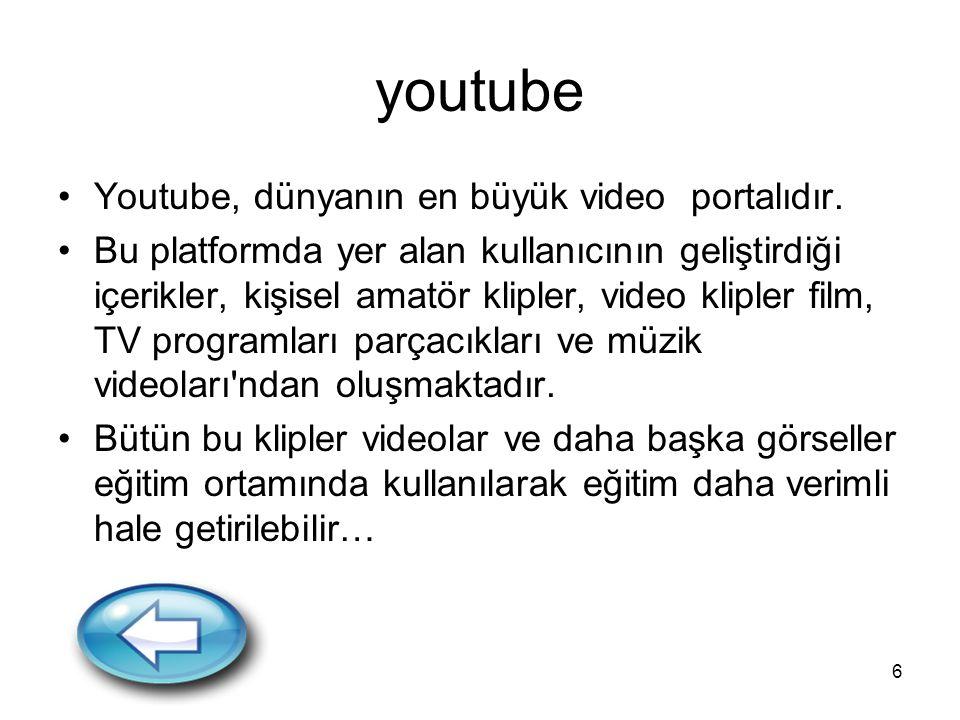 6 youtube Youtube, dünyanın en büyük video portalıdır. Bu platformda yer alan kullanıcının geliştirdiği içerikler, kişisel amatör klipler, video klipl