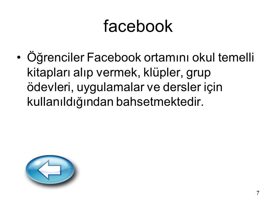 7 facebook Öğrenciler Facebook ortamını okul temelli kitapları alıp vermek, klüpler, grup ödevleri, uygulamalar ve dersler için kullanıldığından bahsetmektedir.
