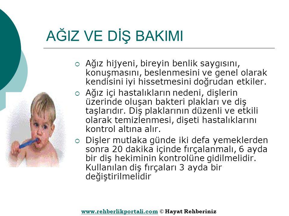 www.rehberlikportali.comwww.rehberlikportali.com © Hayat Rehberiniz AĞIZ VE DİŞ BAKIMI  Ağız hijyeni, bireyin benlik saygısını, konuşmasını, beslenme