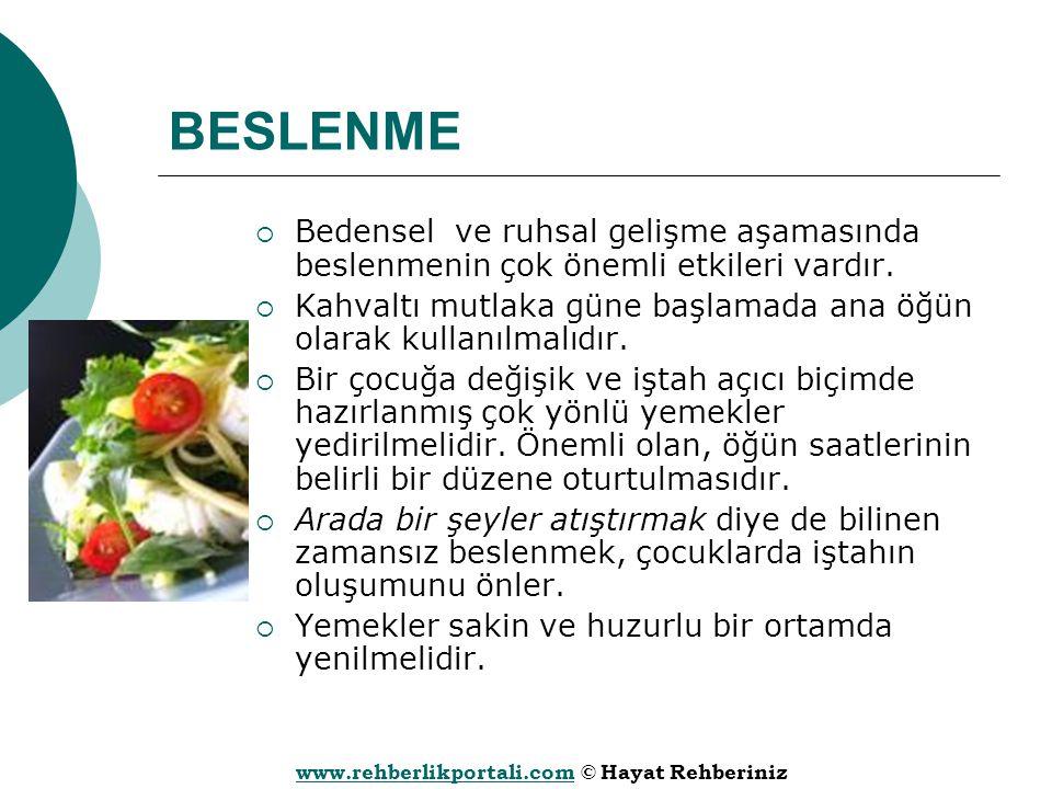 www.rehberlikportali.comwww.rehberlikportali.com © Hayat Rehberiniz BESLENME  Bedensel ve ruhsal gelişme aşamasında beslenmenin çok önemli etkileri v
