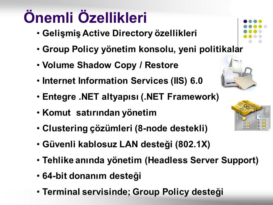 Gelişmiş Active Directory özellikleri Group Policy yönetim konsolu, yeni politikalar Volume Shadow Copy / Restore Internet Information Services (IIS)