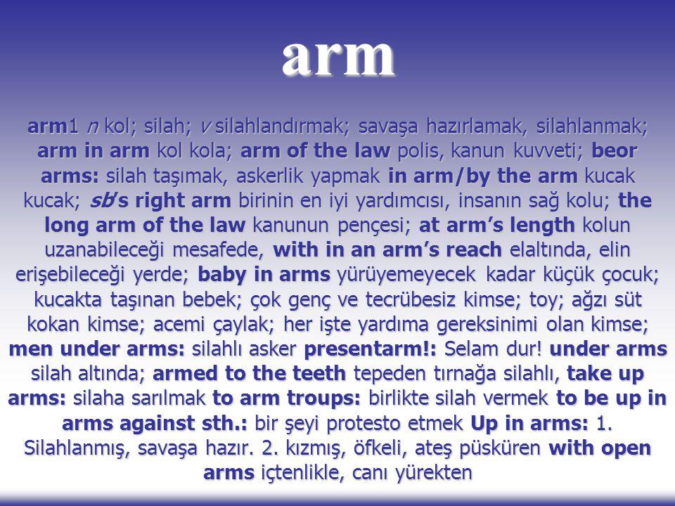arm arm1 n kol; silah; v silahlandırmak; savaşa hazırlamak, silahlanmak; arm in arm kol kola; arm of the law polis, kanun kuvveti; beor arms: silah ta