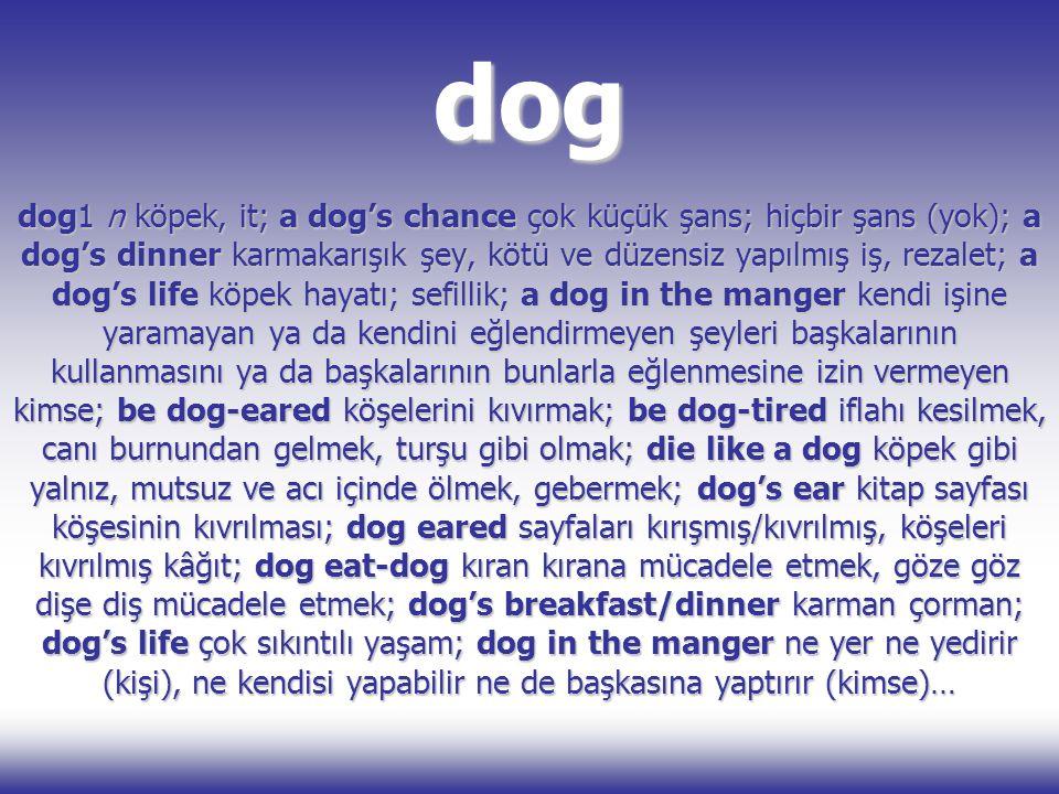 dog dog1 n köpek, it; a dog's chance çok küçük şans; hiçbir şans (yok); a dog's dinner karmakarışık şey, kötü ve düzensiz yapılmış iş, rezalet; a dog'
