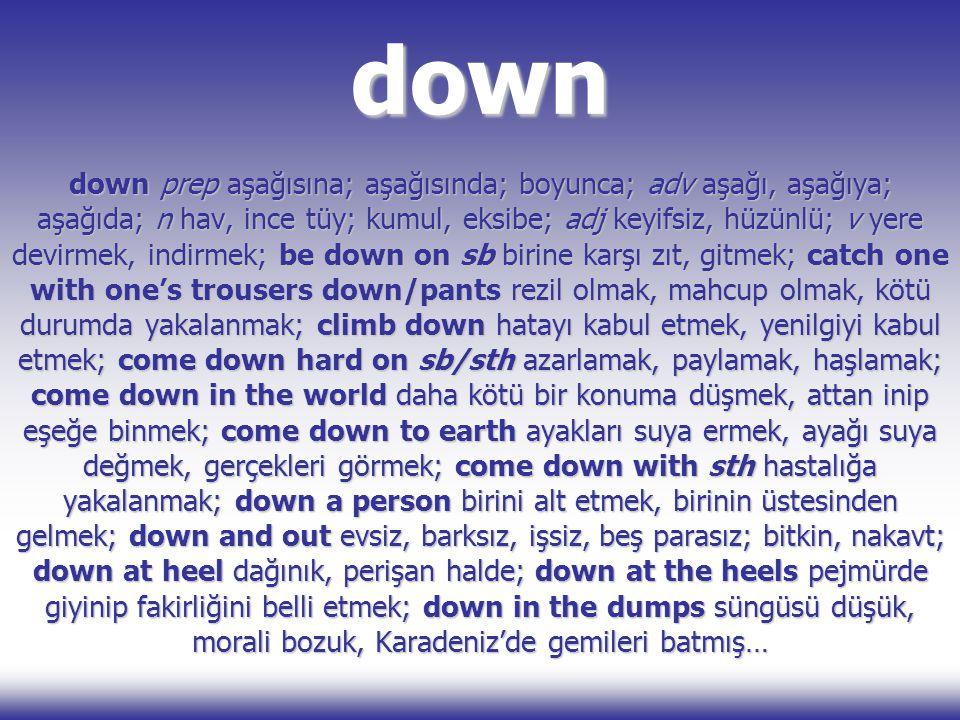 down down prep aşağısına; aşağısında; boyunca; adv aşağı, aşağıya; aşağıda; n hav, ince tüy; kumul, eksibe; adj keyifsiz, hüzünlü; v yere devirmek, in