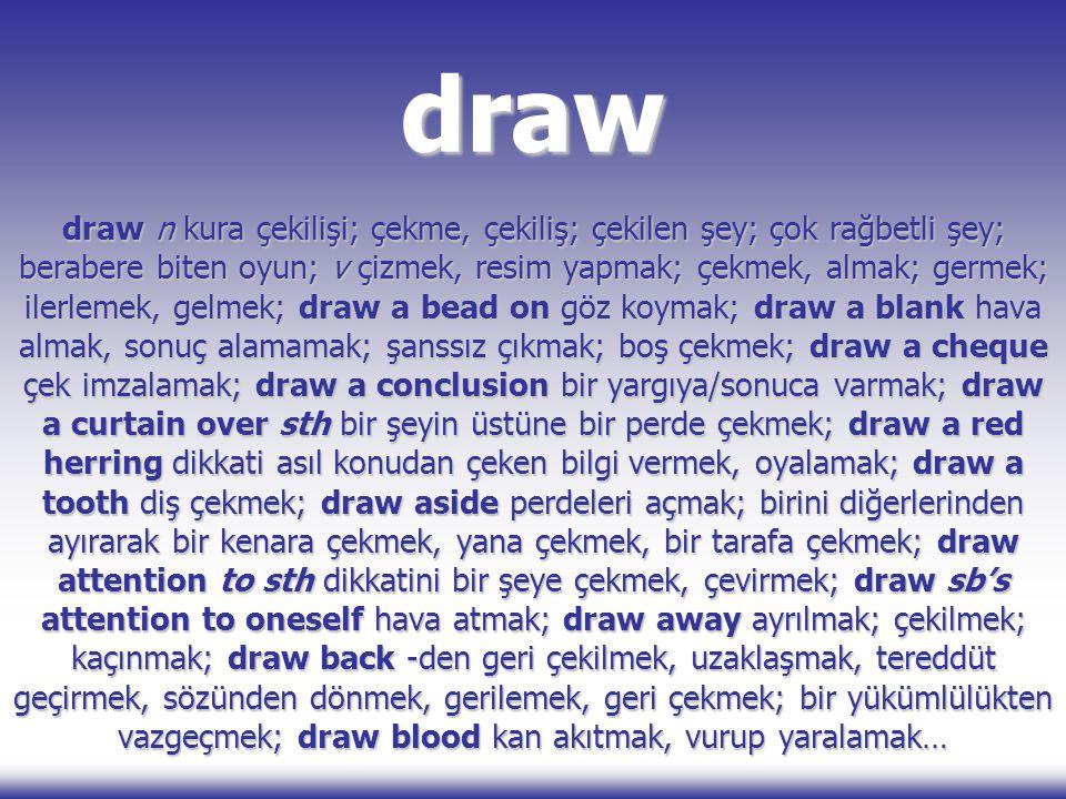 draw draw n kura çekilişi; çekme, çekiliş; çekilen şey; çok rağbetli şey; berabere biten oyun; v çizmek, resim yapmak; çekmek, almak; germek; ilerleme