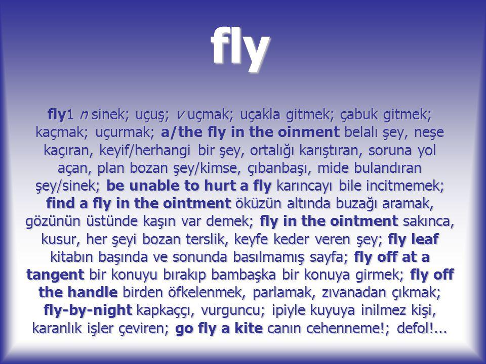fly fly1 n sinek; uçuş; v uçmak; uçakla gitmek; çabuk gitmek; kaçmak; uçurmak; a/the fly in the oinment belalı şey, neşe kaçıran, keyif/herhangi bir ş