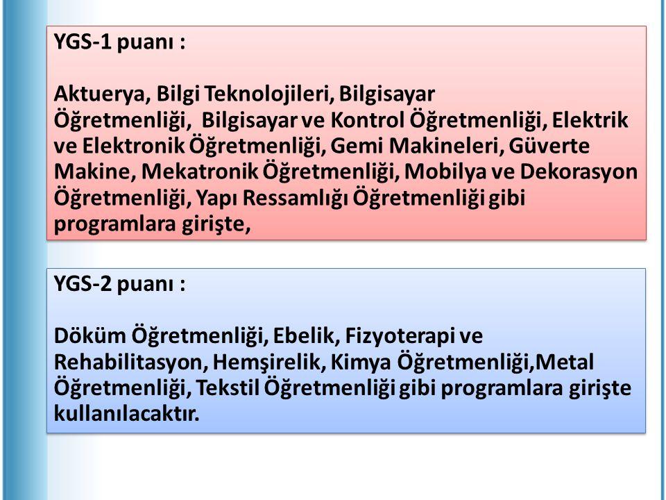 YGS-1 puanı : Aktuerya, Bilgi Teknolojileri, Bilgisayar Öğretmenliği, Bilgisayar ve Kontrol Öğretmenliği, Elektrik ve Elektronik Öğretmenliği, Gemi Ma