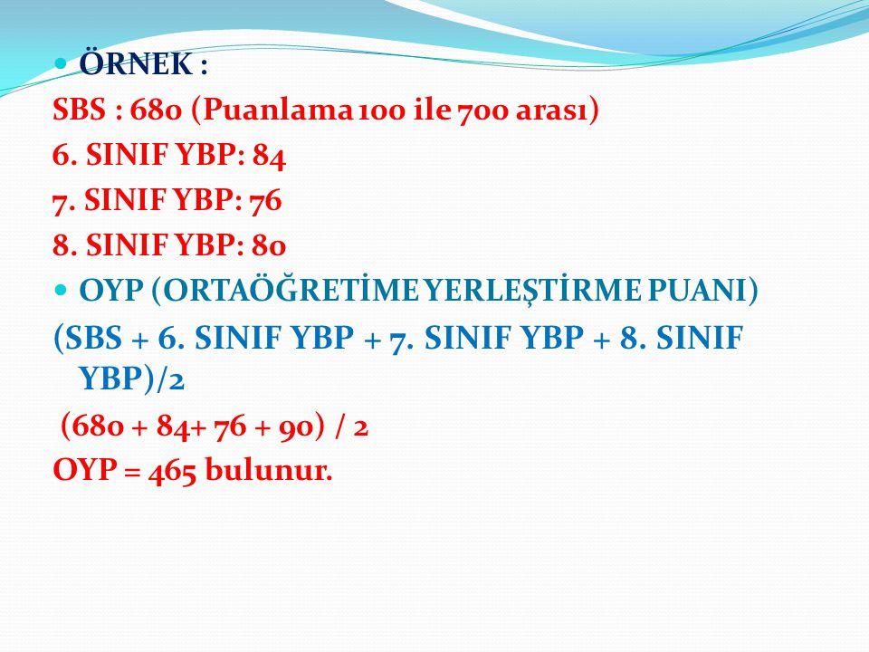ÖRNEK : SBS : 680 (Puanlama 100 ile 700 arası) 6. SINIF YBP: 84 7.