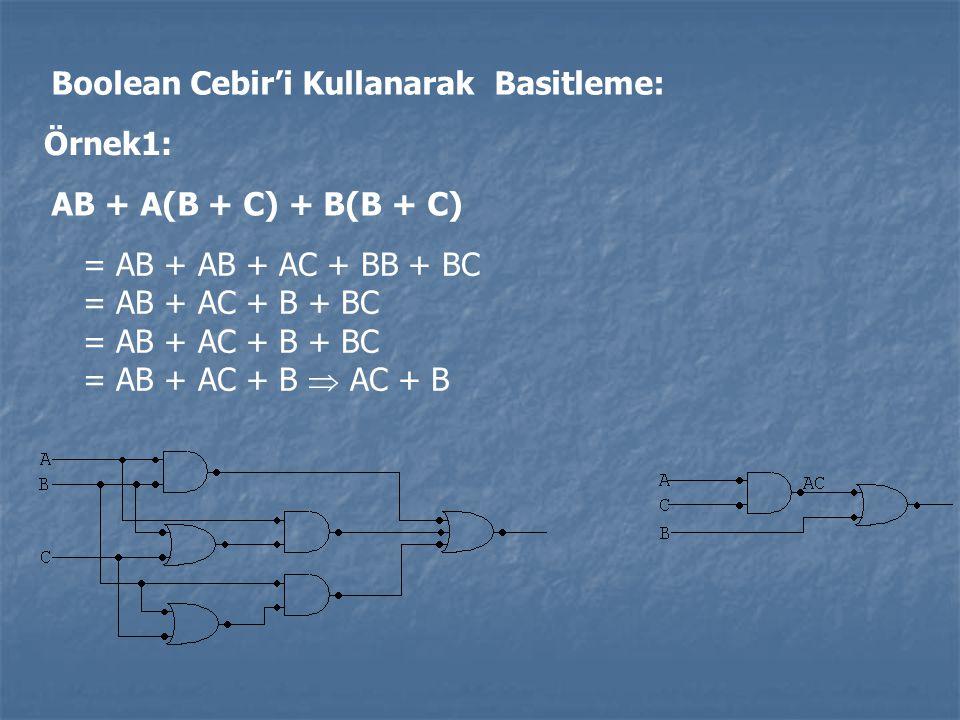 Boolean Cebir'i Kullanarak Basitleme: Örnek1: AB + A(B + C) + B(B + C) = AB + AB + AC + BB + BC = AB + AC + B + BC = AB + AC + B  AC + B