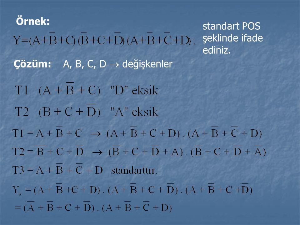 Örnek: standart POS şeklinde ifade ediniz. Çözüm: A, B, C, D  değişkenler