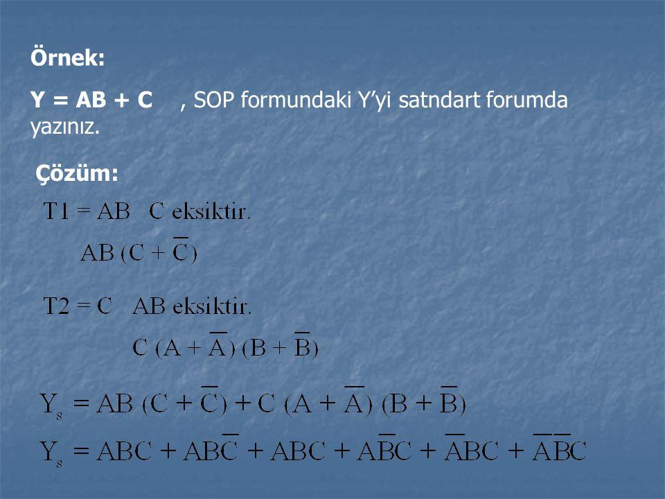 Örnek: Y = AB + C, SOP formundaki Y'yi satndart forumda yazınız. Çözüm: