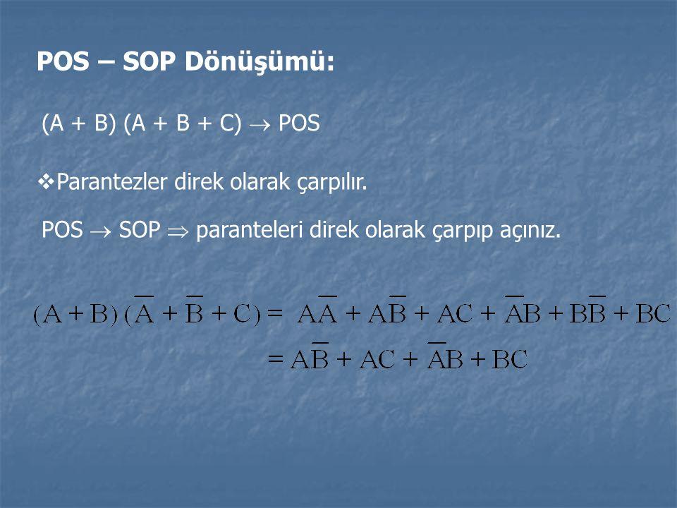 POS – SOP Dönüşümü: (A + B) (A + B + C)  POS  Parantezler direk olarak çarpılır. POS  SOP  paranteleri direk olarak çarpıp açınız.