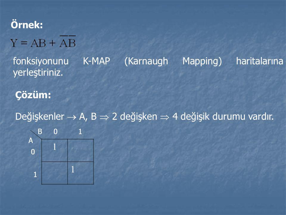 Örnek: fonksiyonunu K-MAP (Karnaugh Mapping) haritalarına yerleştiriniz. Çözüm: Değişkenler  A, B  2 değişken  4 değişik durumu vardır. 1 1 B A 0 1