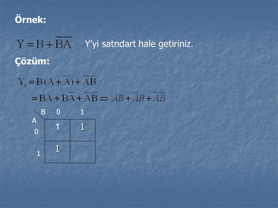 Örnek: Y'yi satndart hale getiriniz. Çözüm: 111 B A 0 1 01