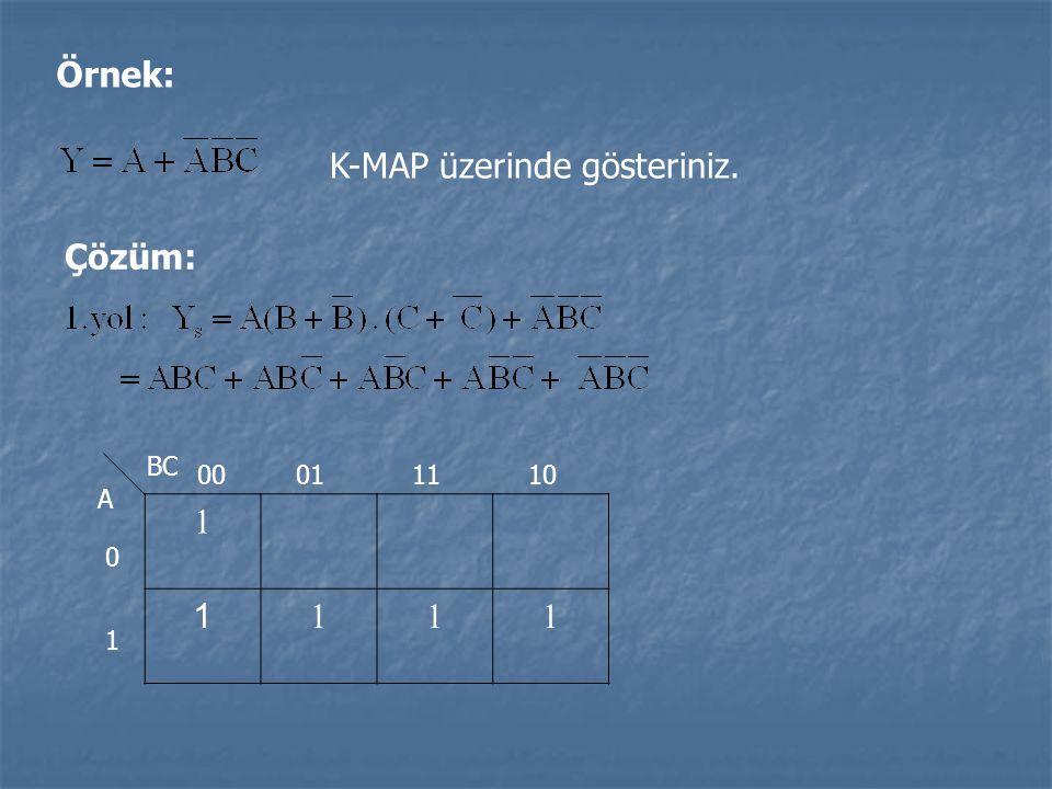Örnek: K-MAP üzerinde gösteriniz. Çözüm: 1 1 111 BC A 0 1 00011110