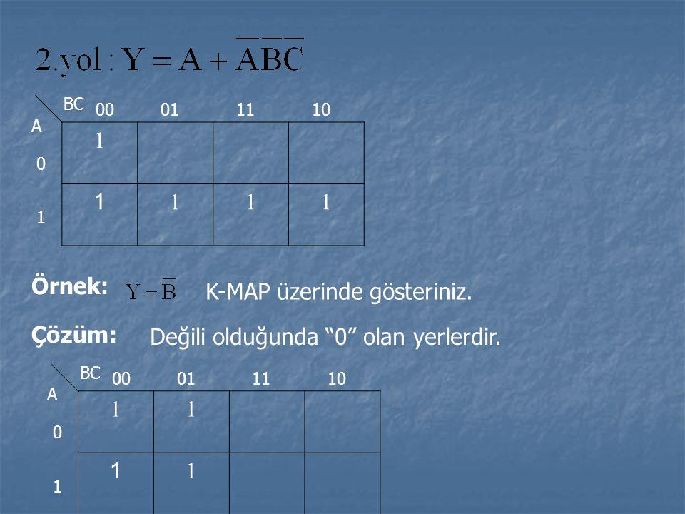 """1 1 111 BC A 0 1 00011110 Örnek: K-MAP üzerinde gösteriniz. Çözüm: Değili olduğunda """"0"""" olan yerlerdir. 11 1 1 BC A 0 1 00011110"""