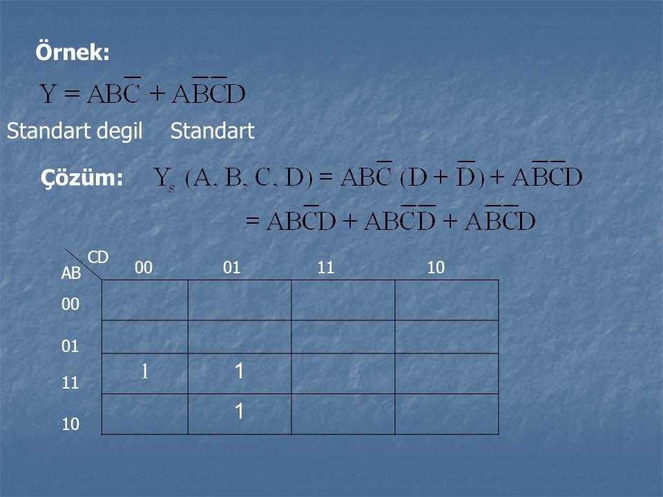 Örnek: Standart degil Standart Çözüm: 1 1 1 CD AB 00 01 11 10 00011110