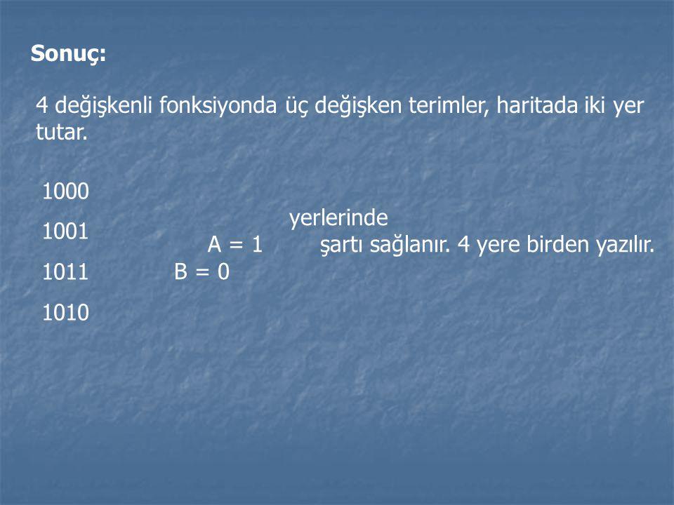 Sonuç: 4 değişkenli fonksiyonda üç değişken terimler, haritada iki yer tutar. 1000 1001 1011 1010 yerlerinde A = 1 şartı sağlanır. 4 yere birden yazıl